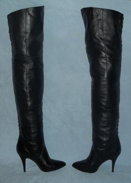 retro thigh high 4 quot stiletto pointed toe genuine leather